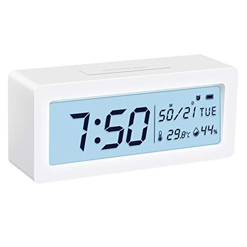 KeeKit [2019 New] Digital Alarm Clock, Large LCD Backlit Electronic Desktop Clock with Temperature Humidity Monitor, Snooze Function, Time/Weekday Display, Battery Powered for Home, Bedroom, Office