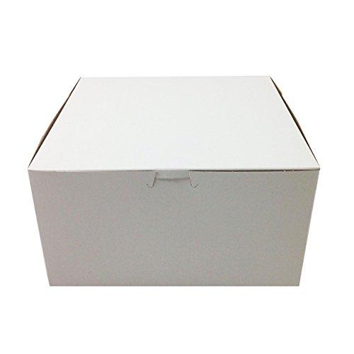 (Pack of 10) Black Cat Avenue 10 x 10 x 5 1/2 White Cake Boxes Non-Window Disposable Pie Boxes Lock Corner Bakery Boxes