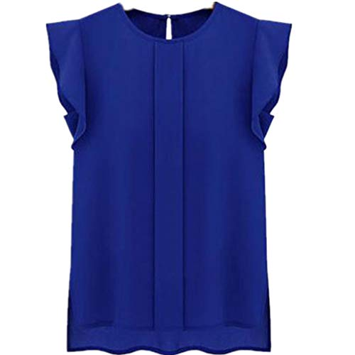 Women Casual T-Shirt, Solid Color O-Neck Short Tulip Ruffle Sleeve Loose Summer Blouse Shirt Tank Tops (A, Blue)