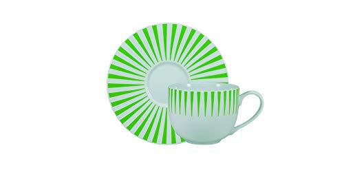 Estojo com 6 xícaras de chá com pires. Modelo redondo aba larga. Decoração sol verde. Fabricado pela porcelana schmidt.