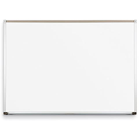 Best-Rite Classroom Deluxe Porcelain Steel Dry Erase Whiteboard, 4 x 10 Feet Magnetic Markerboard With Aluminum Trim & Map Rail - Deluxe Aluminum Trim