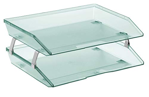(Acrimet Facility 2 Tiers Double Letter Tray (Clear Green Color))