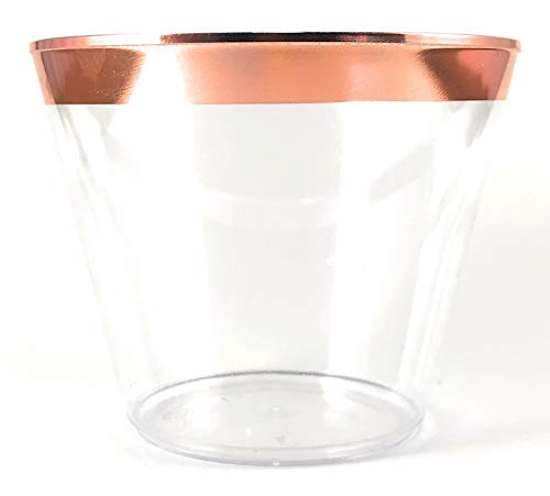 (TachzH 100 Rose Gold Rimmed Plastic Cups ~ 9 oz Clear Plastic Cups Old Fashioned Tumblers ~ Disposable Wedding Cups ~ Fantastic Party Cups With Gold Rim (Rose Gold))