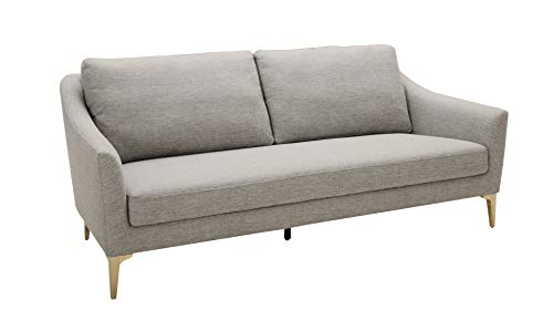 "Rivet Alonzo Contemporary 80"" Sofa, Fabric, Metal Leg, 80""W, Gray"
