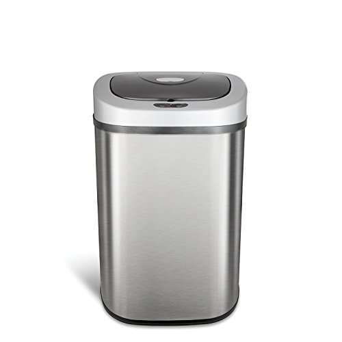 Ninestars DZT-80-4 Automatic Touchless Motion Sensor Oval Trash Can, 21 Gal. 80 L, Stainless Steel (Hands Can Trash Free)
