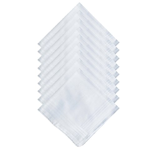 Men's Pure Cotton Handkerchief/Hankies with White Hem by MZLIU