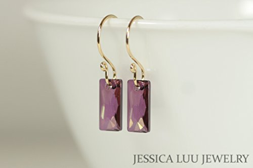 Sterling Silver Purple Earrings with Lilac Shadow Swarovski Crystal Baguettes - Baguette Purple Ring