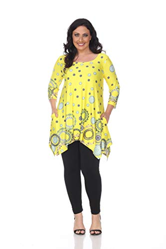 (White Mark Bright and Colorful Print Manadala Inspired Plus Size Tunic Top Erie Circles 1X 2X 3X 4X)