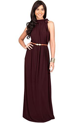 KOH KOH Womens Long Halter Sleeveless Sexy Summer Belted Evening Maxi Dress, Maroon Wine Red M 8-10 ()
