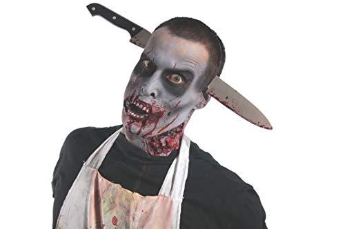 Rubie's Zombie Shop Kitchen Knife-Thru-Head, Silver/Red/Black, One Size -