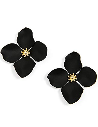 Flower Earrings Painted - ZENZII Flower Petal Statement Earrings for Women (Black)