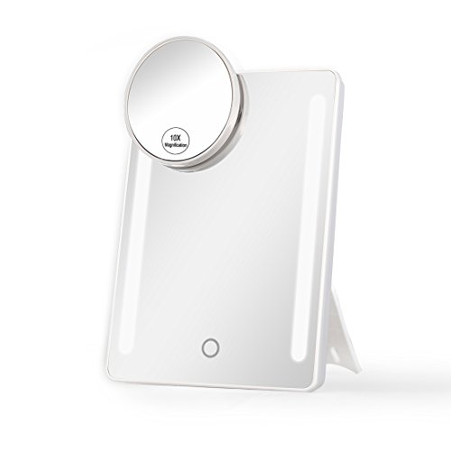 Pocket Makeup Mirror With LED Light (White) - 3