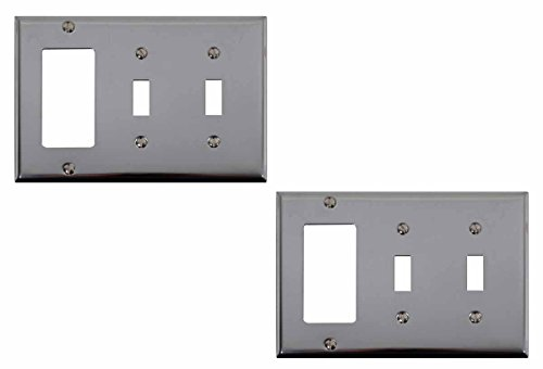 Bright Chrome Plated Steel Beveled Double Toggle GFI Switch Plate