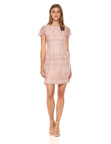 Adrianna Papell Women's Scalloped Striped Lace A-Line Dress with Cap Sleeves, Pink/Almond, 2