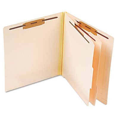 Pendaflexamp;reg; - Manila Pressboard End Tab Classification Folders, Letter, Six-Section, 10/Box - Sold As 1 Box - Two dividers with 1amp;quot; capacity fasteners on both sides. - Pendaflex Manila Pressboard End