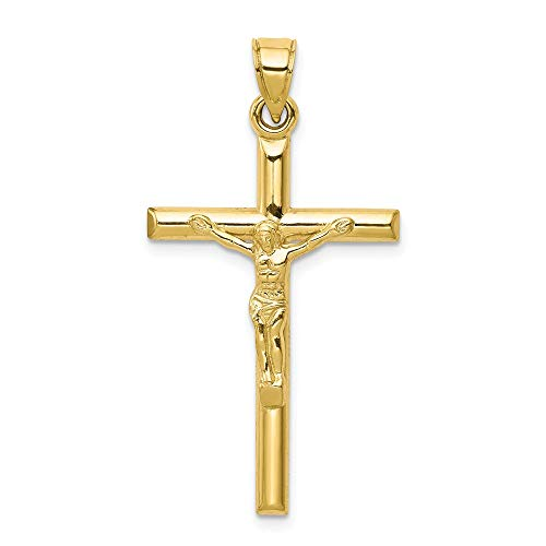 10K Yellow Gold Hollow Crucifix Cross Pendant