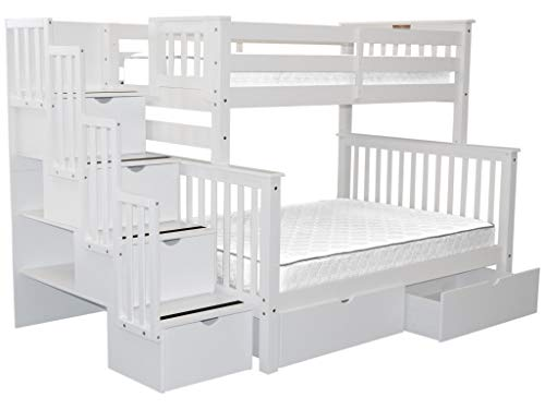 (Bedz King Stairway Bunk Beds Twin over Full with 4 Drawers in the Steps and 2 Under Bed Drawers,)