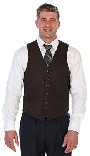 Gioberti Men's 6 Button Slim Fit Formal Herringbone Tweed Vest, Herringbone Dark Brown, 3X Large