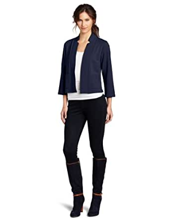Lilla P Women's French Terry 3/4 Sleeve Notch Collar Jacket, Dark Navy, X-Small
