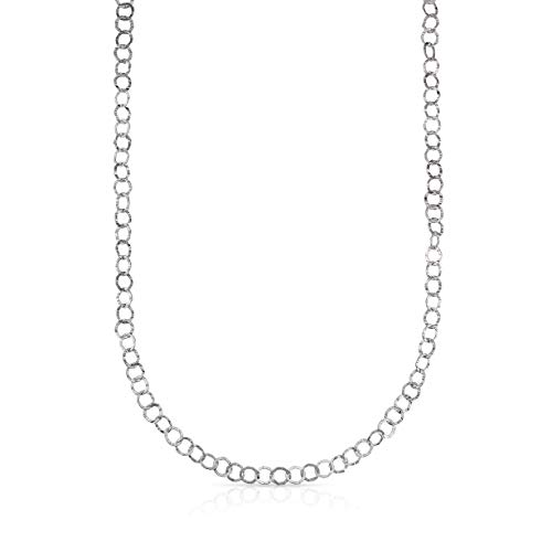 (Verona Jewelers Sterling Silver Hammered Circle Link Chain Necklace and Bracelet, Flat Circle Link Necklace, Flat Necklace, Made in Italy (Silver, 20))