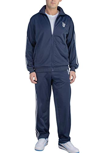 Vertical Sport Men's 2 Piece Jacket & Pants Slim Fit Jogging Track Suit JS10 (XXX-Large, Navy)