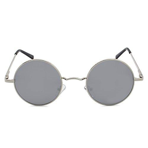 Lente Plateado Polarizadas Clásico Marco Plateado De AMZTM Redondo Sol Moda Gafas xPWwSWqzv1