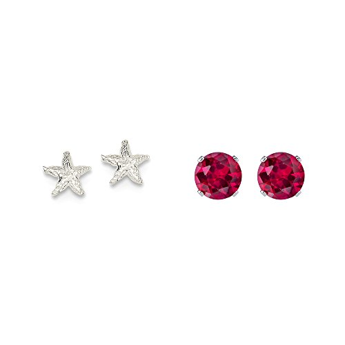 Sterling Silver Starfish Mini Earrings and a pair of Red 4mm CZ Stud Earrings (Starfish Earrings Mini)