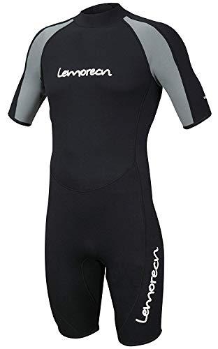 Lemorecn Wetsuits Adult's Premium Neoprene Diving Suit 3mm Shorty Jumpsuit (3035blackgrey- XL)