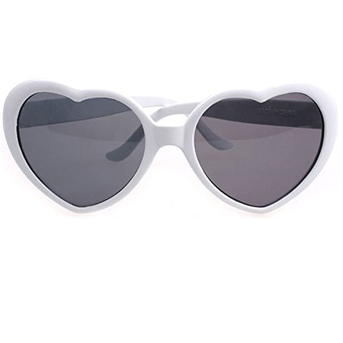 Armear Women's Lady Girl Fashion Large Oversized Heart Shaped Retro Plastic Sunglasses Cute Love Eyewear - Sunglasses Womens White