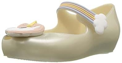 Mini Melissa Girls Ultragirl Unicorn Ballet Flat, White/Pink, 5 Medium US Toddler