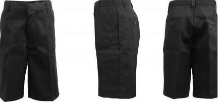K&A Company Flat Front Boys Shorts Black - Size 7 Case Pack 24