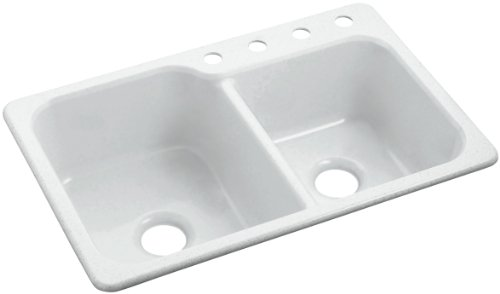 Sterling SC3322DBG-U-0 Maxeen 33-inch by 22-inch Undermount Large/Medium Double Bowl Vikrell Kitchen Sink, White (Maxeen Kitchen Sink)
