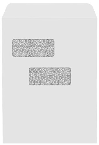 9 x 12 Open End Double Window Envelopes - 28lb. White w/ Security Tint (250 Qty.) | Perfect for Tax Season, Important Documents, Letters, Invoices or Statements | 912DW-28WST-250