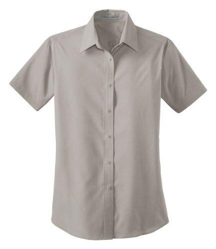 Port Authority Ladies Short Sleeve Value Poplin Shirt Grey L633 XXL ()