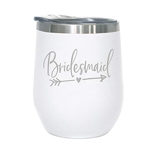 Bridesmaid Gift - 12 oz Stainless Steel Wine Tumbler with Lid (white/silver)