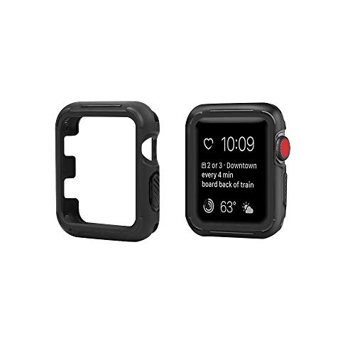 top4cus Scratch-Resistant Soft Flexible TPU Lightweight Protective Protector Bumper Compatible Apple Watch Case 44mm 42mm 40mm 38mm Series 4 Series 3 Series 2 Series 1 - Black, 44mm