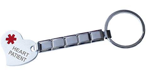 Heart Patient Medical Alert 9mm Italian Charm Stainless Steel Key Chain And Heart (9mm Italian Charm Keychain)