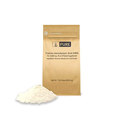 Gamma Aminobutyric Acid (GABA) Powder (1 lb, ¼ TSP per Serving) by Pure Organic Ingredients, Healthy Mood & Sleep Cycle*, Ease Stress & Relax*, Relieve PMS Symptoms*, Eco-Friendly Packaging