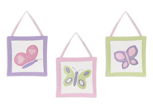 Pink and Purple Butterfly Collection Wall Art Hangings by Sweet JoJo Designs ()