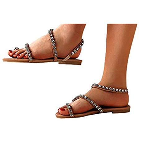 Cewtolkar Womens Summer Bohemia Flat Sandals Crystall Beaded Bottom Sandals Beach Open Toe Shoes Brown
