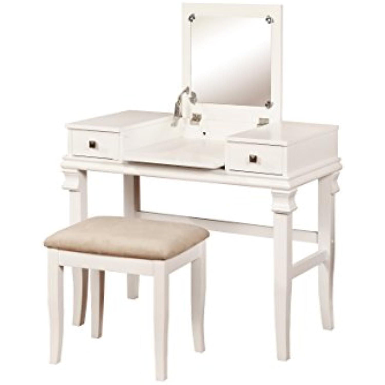 Linon Angela Vanity Set, White, 30 x 36 x 18,