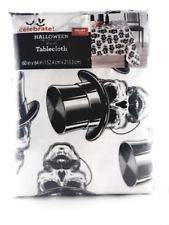 Vinyl Tablecloth 60x102 White Skulls with Top Hats Theme Halloween ()