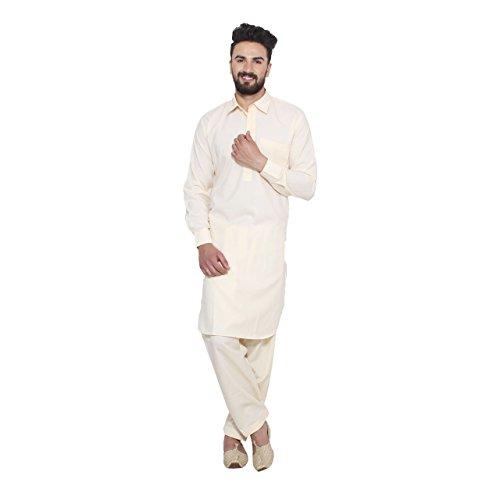 Details about  /Fawn Cotton Blend Pathani Kurta Salwar Set Thread Embroidery On Neck