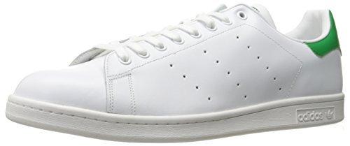 adidas Originals Men's Stan Smith Leather Sneaker, Footwear White/Core White/Green, 19