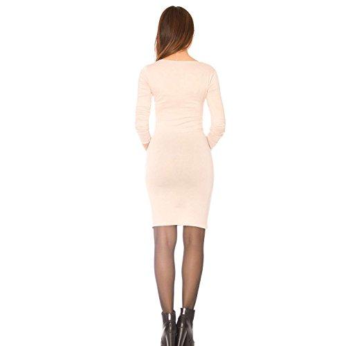 Miss Wear Line - Robe mi-longue beige à manche longue et col cache coeur, robe légère
