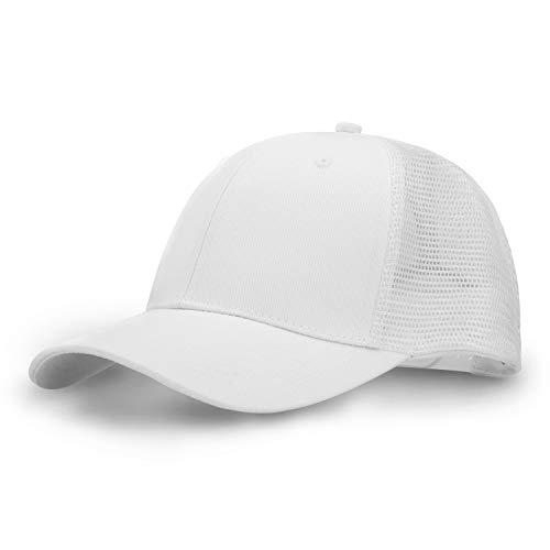 Low Profile White Mesh Baseball Cap Unisex Women Men Hunting Fishing Hat Plain Adjustable Golf Polo Style Ball Cap (White)