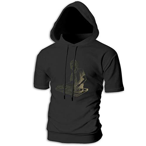 Mens Hoodies Fashion Sketch Music Characters Fun Pullover Hoodie Short Sleeve Shirt ()