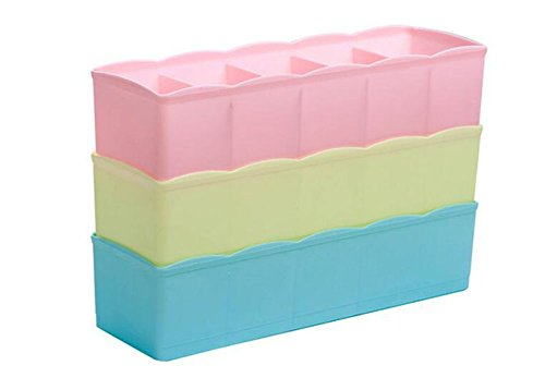 Hosaire Storage Box Multi-function Five Grid Plastic Underwear Sock Ties Separator Organizer Case Desk Drawer Closet Organizer ,Set of 3 Color by Hosaire (Image #6)