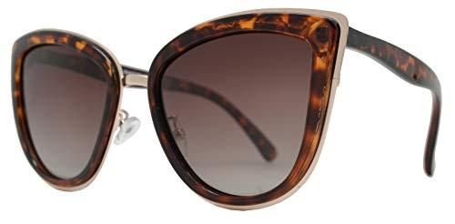 Metal Tortoise - PZ Polarized - Women Cat Eye Metal Bridge Design Mirror Sunglasses (Tortoise + Brown Lens)