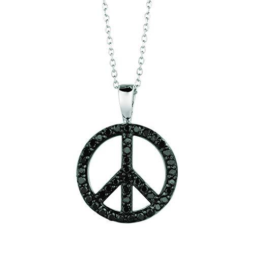14K White Gold Black Diamond peace sign Necklace - 0.34ctw. Diamond